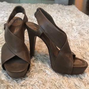 DVF Zia Platform Sandals in Brown Leather